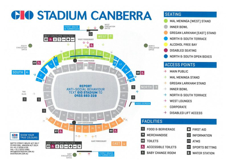 GIO Stadium Canberra seating plan