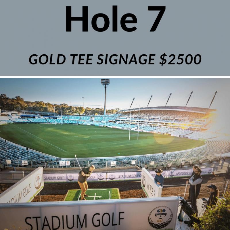 Gold tee signage