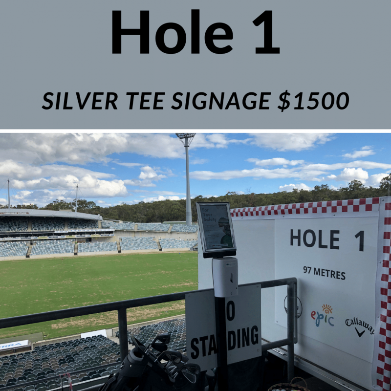 Silver tee signage